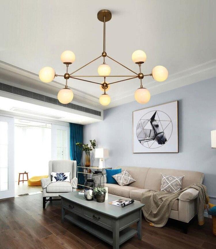 Nordique Studio Art or Led lustre boule magique adn lumière verre Globe chambre lumière café lumière avec E27 ampoule Led