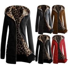 Women Leopard Fleece Zipper Hooded Winter Warm Coat Fashion Female Thickening Slim Jacket Casual Outwear Plus Size Overcoat
