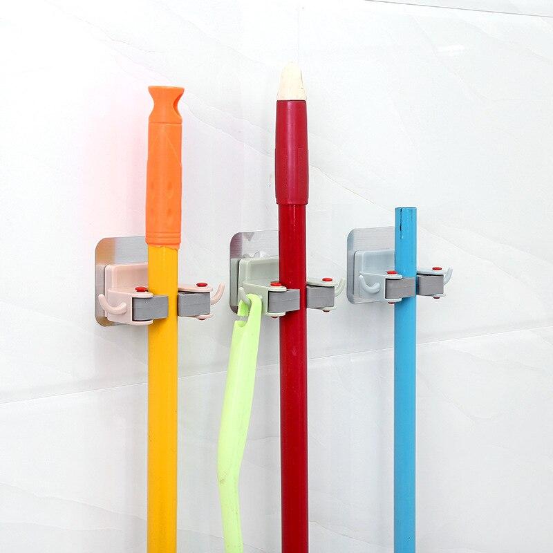 Wall Mounted Storage Mop Holder Brush Broom Hanger Storage Rack Kitchen Organizer Convenient Bathroom Rack Home Organization