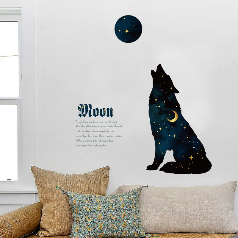 DIY Creative Star Night Wolf Wall Sticker Porch Bedroom Bedside Living Room Sofa Door TV Background Home Decoration Wall Sticker ...