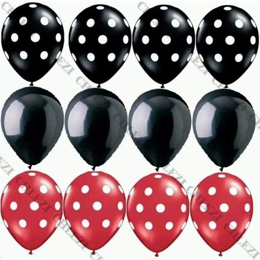 Ladybug balões de látex, preto, vermelho, branco, ponto polka ponto onda, globos mickey minnie, decoração de festa de aniversário, suprimentos 12 pçs/lote