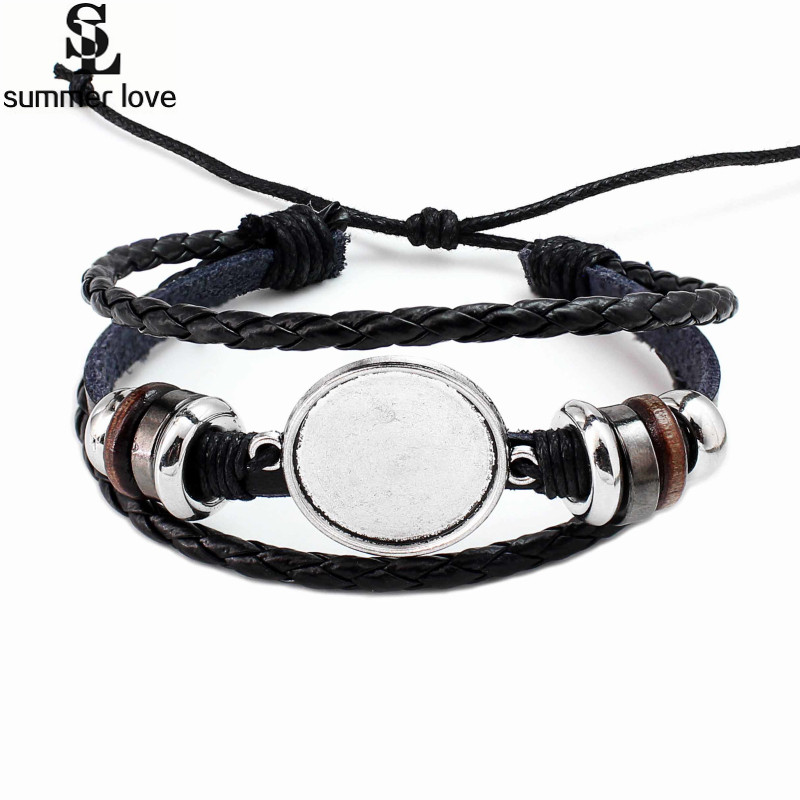 DIY 10PC 20MM Round Photo Glass Cabochon Bracelet Setting Base Bezel Tray Blank Multi Layer Leather Bracelet Jewelry Making