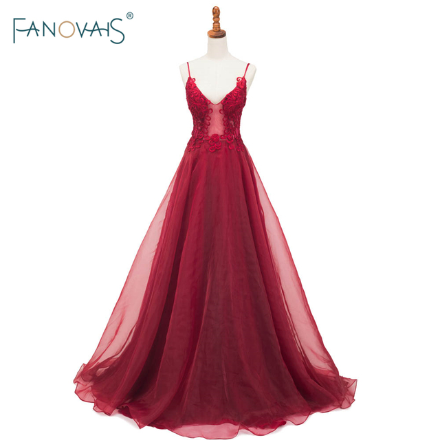 9810c005bf Affordable Burgundy Evening Dresses Long Applique V-Neck A-Line Prom Dress  2019 Formal Evening Gown Robe de Soiree 2018 NE15