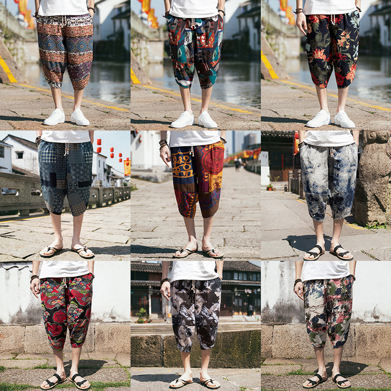 Sinicism Store Harajuku 5XL Harem Pants Men 2019 Summer Cotton Linen Vintage Joggers Baggy Japanese Streetwear Casual Sweatpant(China)