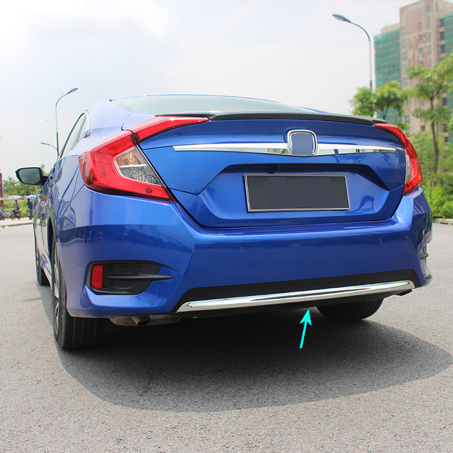 Fit For Honda Civic 2016 2017 Chrome Rear Trunk Lid Cover Tailgate Trim Per Back Door Bezel Molding Garnish Protector