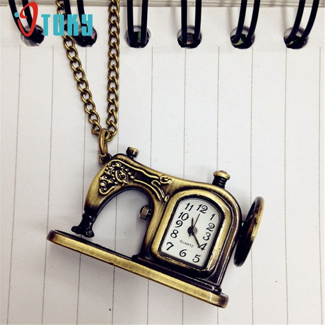 OTOKY Retro Vintage Bronze Alloy Sewing Machines Pendant Pocket Watch For women