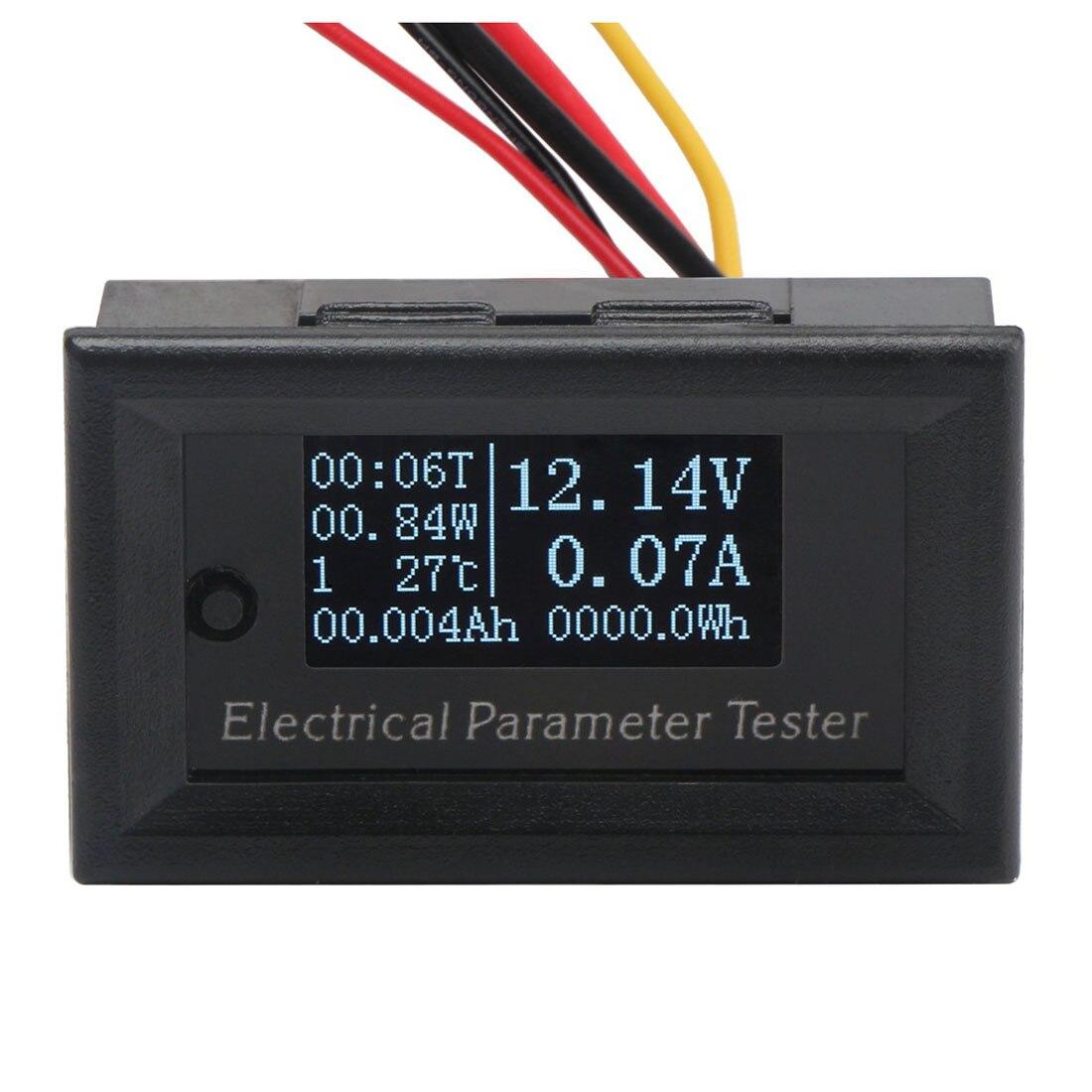 Практичный 7in1 OLED мультиметр Ампер Напряжение Ёмкость Мощность Температура Мониторы DC 100 В 10A Амперметр Вольтметр Ватт метр
