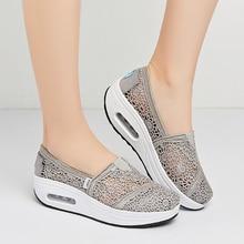 Женская Повседневная обувь; обувь на платформе без застежки с дышащей сеткой; обувь для прогулок; обувь на танкетке