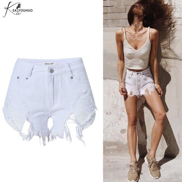 a392ee2afd 2018 pantalones vaqueros rasgados de verano Pantalones cortos de mezclilla  blanca para mujeres señoras de cintura