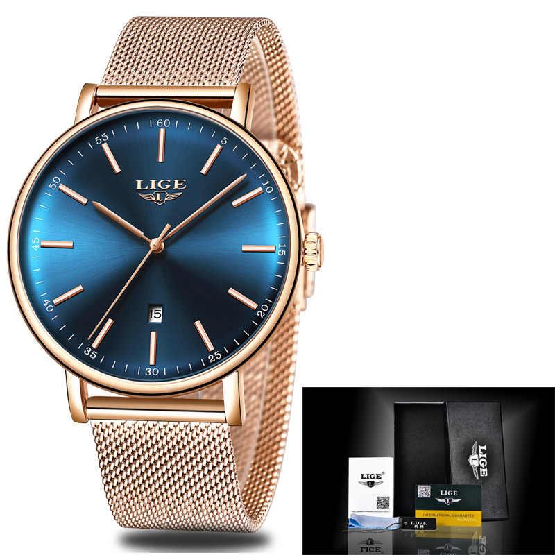 LIGE Mulheres Relógios Top Marca de Luxo Senhoras Relógio Cinto de Malha Ultra-fina de Aço Inoxidável À Prova D' Água Relógio Relógio de Quartzo Reloj mujer