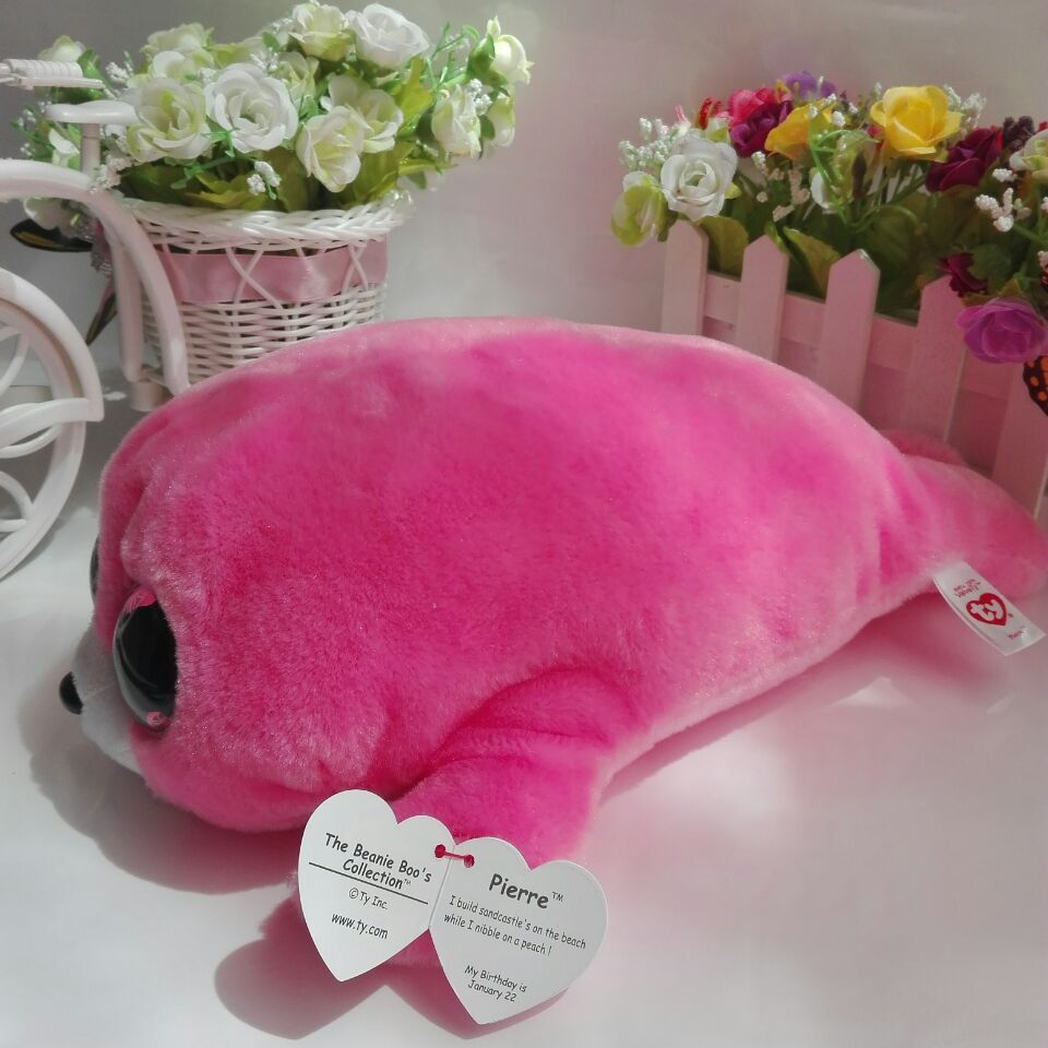 Pierre seal pink seal with tag label TY BEANIE BOOS 25CM 10