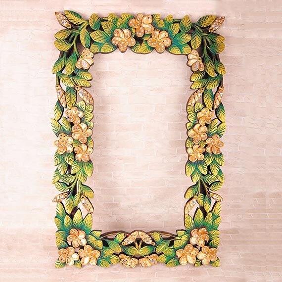 New Thai Home Decor Handicrafts Handmade Painted Flower Carved Frame Wedding Gift Dressing Makeup