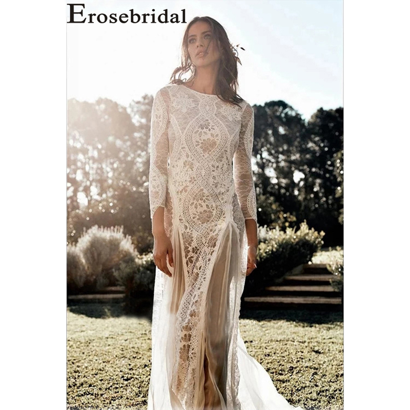 Erosebridal Boho lace outdoor lawn wedding Dresses 2019 small trailing seaside photo New Arrival Long Sleeves