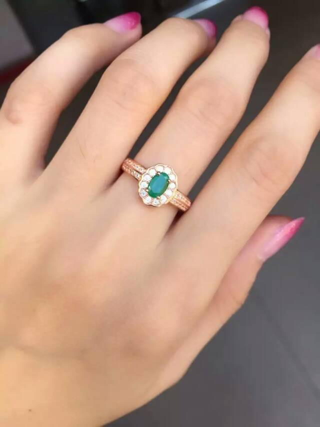 Natural Green Emerald Gem Ring S925 Silver Natural