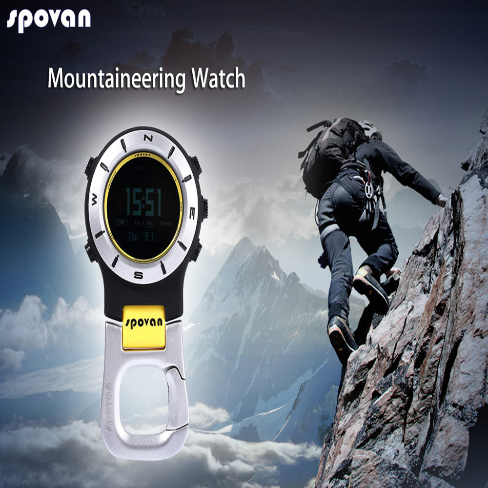 Spovan Digital Compass 3ATM Waterproof Multi-functional Outdoor Sports Backlight Watch Barometer Altimeter Thermometer Compass