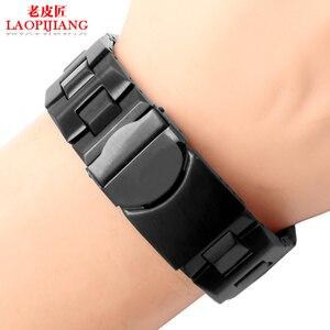 Image 2 - Laopijiang bracelet swatch 19mm, en acier inoxydable, SWQ, YCS570G, étanche avec une bouche convexe et convexe, de couleur noir argent