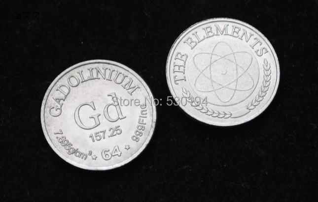 99.9% di Elevata Purezza GADOLINIO Ga Metallo Intagliato Elemento Periodic  Table Coin Forma aa6333ea6bf