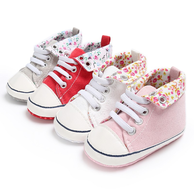 Newborn Kids Crib Bebe Infant Spring Autumn Toddler Classic Casual High Top Lace-Up Sports Sneakers Baby Shoes