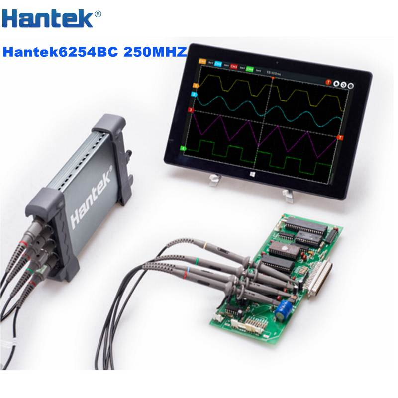 Hantek 6254BC 250MHz Portable Digital USB Oscilloscope for Computer Tablet PC 4CH 64K 1GSa/s 2mV-10V/DIV Input Sensitivity  цены