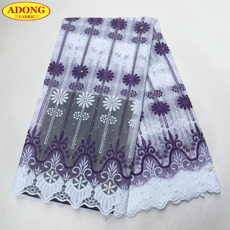 Popular purple embroidery african lace fabric hot selling milk fiber lace fabric rhinestones with stones 5