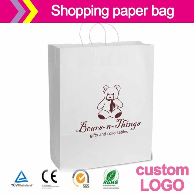 Premium Shadow Stripe Colored Kraft paper Bags Bright Colored Matte White china alibaba printed shopping