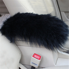 цена на Black Sheepskin Car Armrests Cover Pad Vehicle Center Console Arm Rest Seat Pad for Ford Focus Fusion Kuga Ecosport