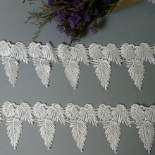 2yard Soluble White Polyester Leaves Embroidered Lace Trim Ribbon Handmade DIY Sewing Craft For Costume Hat Decoration 2019 Hot