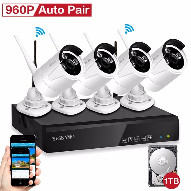 YESKAMO 4CH Wireless Security Camera System 960P Outdoor CCTV ...