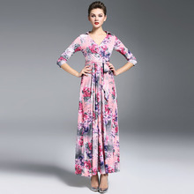 Luxury High Quality 2018  Designer Runway Maxi Dress Spring Women 3/4 sleeve Vintage Floral Printed Long Wrap