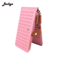 Genuine Leather Weave Credit Card Holder Purses Zipper Hasp 20 Card Holder Women Long Wallets Ultra