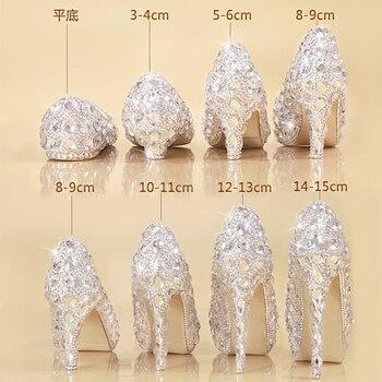 Zapatos de cristal de Cenicienta las mujeres tacones para fiesta de noche brillante del dedo del pie redondo de plata de encargo de diamantes de imitación boda bombas tamaño 9