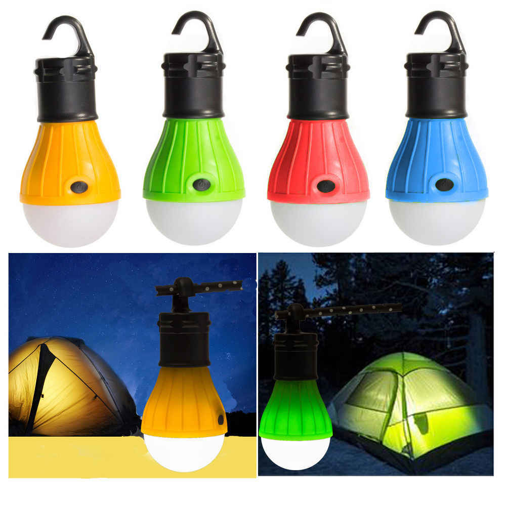 Mini Portable Lantern Tent Light LED Bulb Emergency Lamp Waterproof Hanging Hook Flashlight For Camping 4 Colors Use 3*AAA