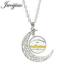 JWEIJIAO – Collier avec pendentif en forme de lune, Je Suis Une maman française, Merci Maitresse, Cabochon en verre, bijoux CT280