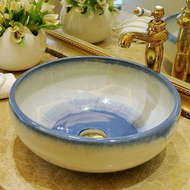 US $239.8 |Glasiert China Künstlerische Handgefertigte keramik waschbecken  waschbecken Keramik Arbeitsplatte Waschbecken Badezimmer Waschbecken runde  ...