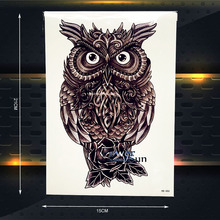 Hot Flash Metallic Temporary Tattoo OWL Pattern 3D Body Art ARm Tattoo Sleeve Sticker 21x15CM Henna Black Metal Owl Tatoo Totem