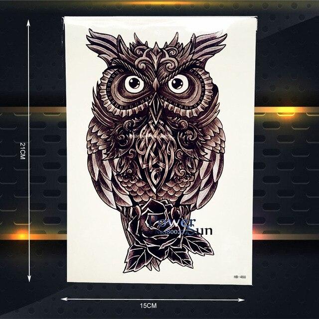 Hot Flash Metallic Temporary Tattoo OWL Pattern 3D Body Art ARm Tattoo Sleeve Sticker 21x15CM Henna Black Metal Owl Tatoo Totem