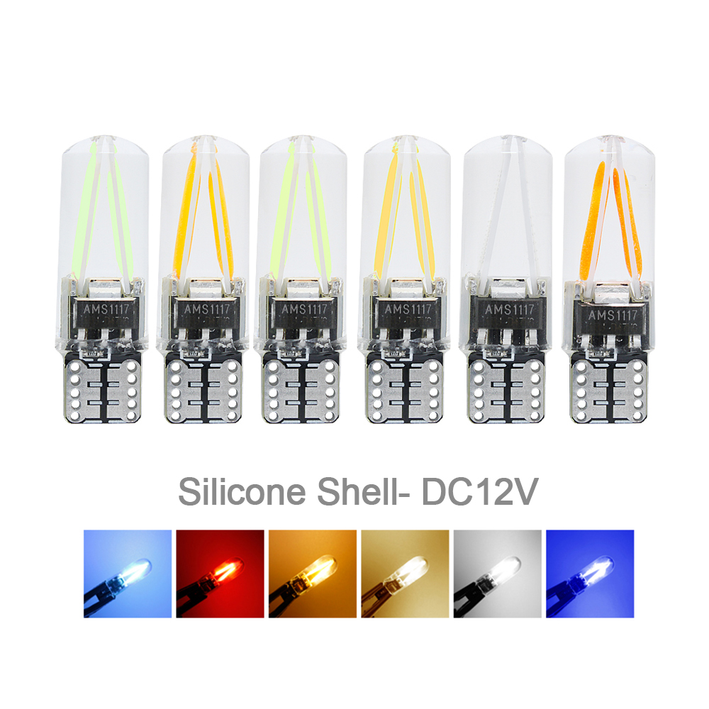 T10 LED Light Bulb Filament Cob Smd Glass Silicone Shell DC 12V 24V Auto Light Source For Car W5w 168 194