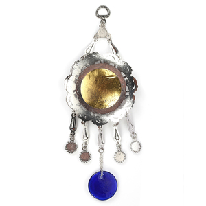 Image 3 - Evil Eye Alloy Painting Oil Round Quran Wall Hanging Jewelry Pendant With BULE EVIL EYE BEADs EY5037