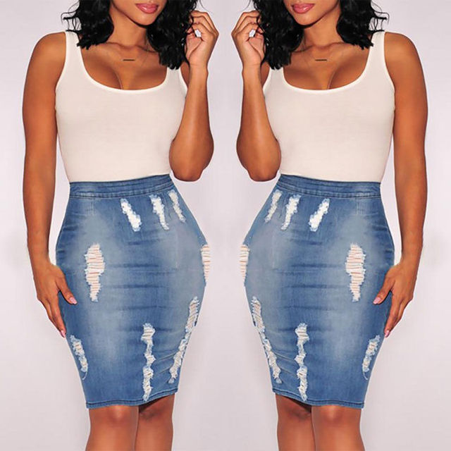 b4f683aa12bb66 € 11.28 |Mode femmes Stretch moulante jupe crayon jupe mi longue jupe  taille haute Denim jupes dans Jupes de Mode Femme et Accessoires sur ...