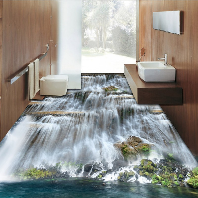 Free Shipping Waterfalls stone 3D floor painting thickened non-slip bathroom living room kitchen office study flooring mural free shipping aesthetic seaside beach living room bathroom 3d floor thickened kitchen restaurant bedroom lobby flooring mural