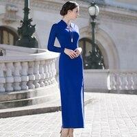 2ceaf1d9517686 Blue Long Dress 2019 Spring Summer Autumn Elegant Party Evening Vestidos  Women Split Sexy Long Sleeve. Bekijk Aanbieding. 2019 Strand Jurk Vrouwen  ...