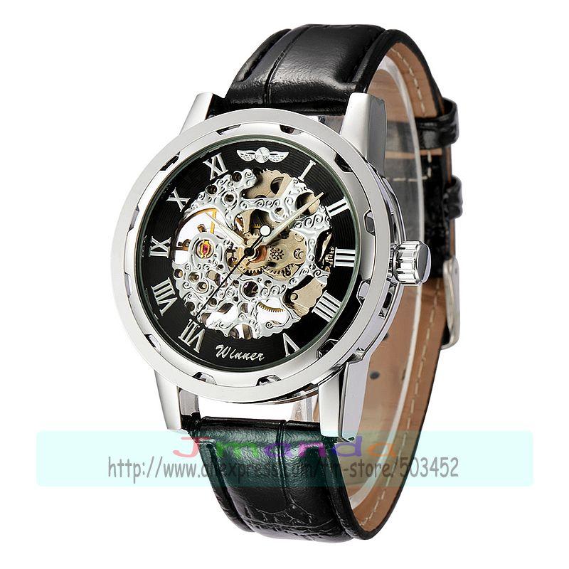 30 шт./лот победитель-614 победитель брендовая натуральная кожа часы, Скелет механические часы hollow out механические часы