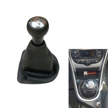 цена на Free Shipping 5 Speed Car Gear Shift Knob With Leather Boot And Chrome Top Cap For Peugeot 207 307 CC 308 Car Styling