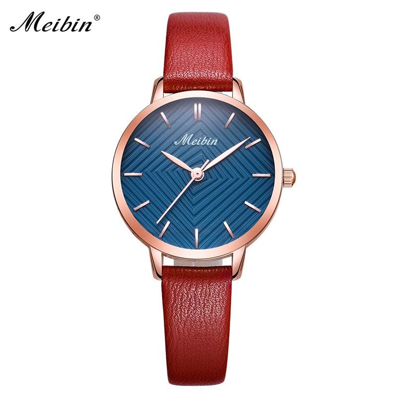 MEIBIN luxe merk vrouwen horloges 2018 mode roze lederen dameshorloge - Dameshorloges - Foto 3