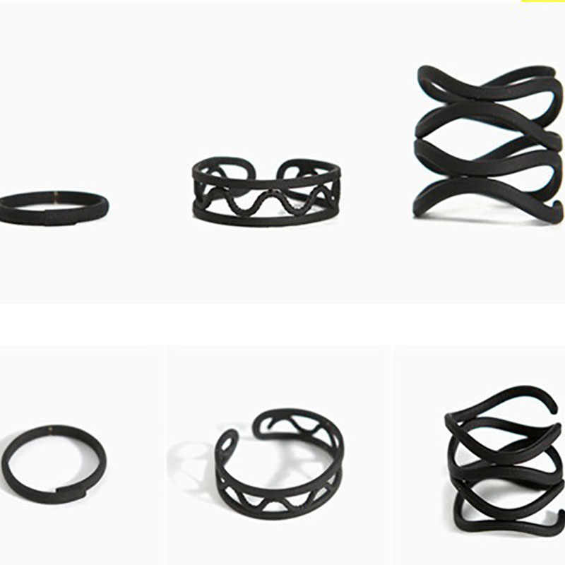 3 piece Punk Black Midi Knuckle Ring Set Women Girls Multilayer Mid Hollow Finger Open Ring Adjustable Jewelry Accessories