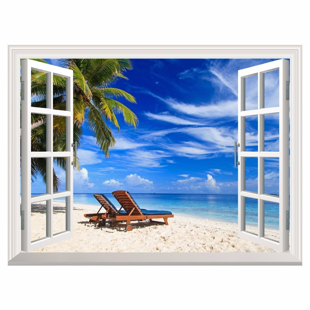 3d Effect Window View Wall Stickers Tropical Beach With