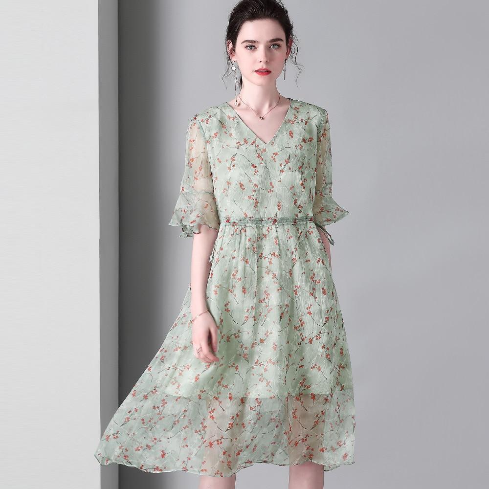 100% шелковое платье Летнее женское милое зеленый горошек миди ТРАПЕЦИЕВИДНОЕ ПЛАТЬЕ С v образным вырезом и оборками, Пляжное Повседневное пл