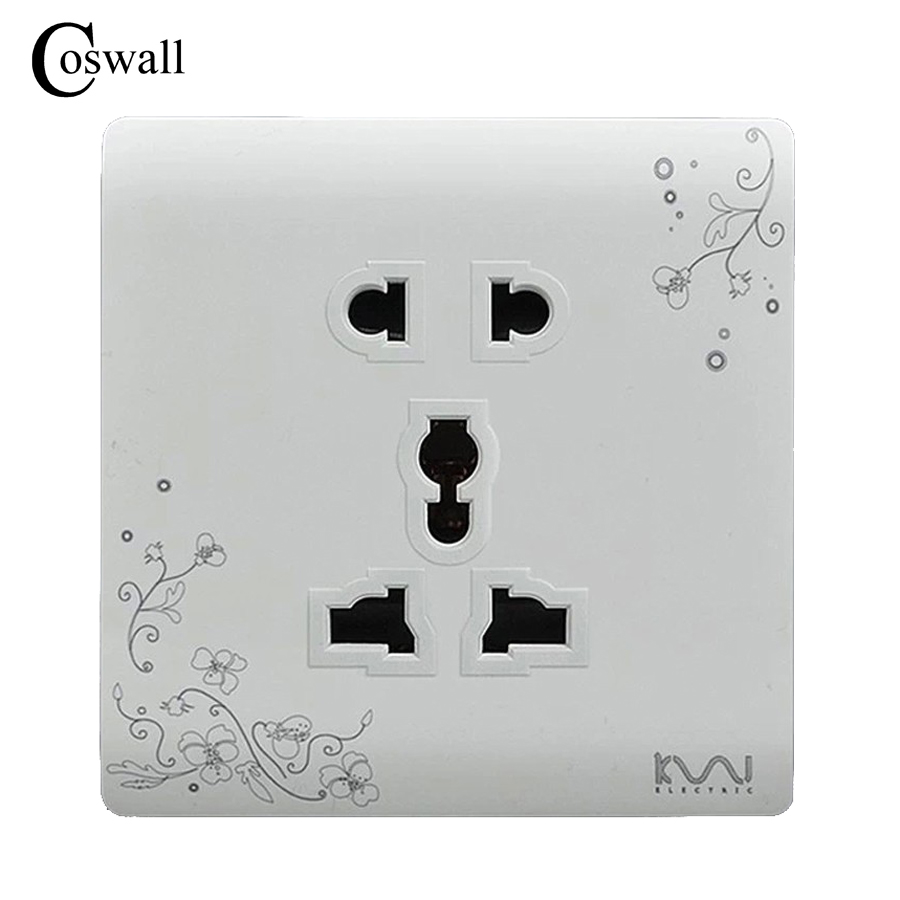 COSWALL Wall Electrical Socket Universal 5 Hole Power Outlet Brief White Art Pattern Panel AC 110~250V
