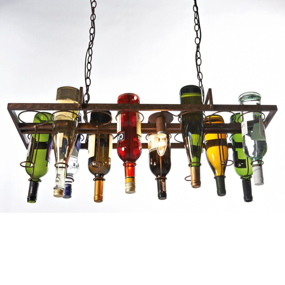 Recycled retro Hanging Wine Bottle vintage iron Pendant Lamp E27 pendant lights fixture for living room bar Kitchen room bedroom smad 28 bottle wine chiller cellar bar