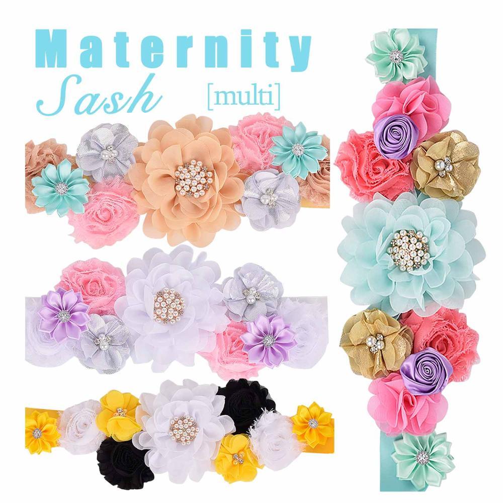 Flower Sash Maternity Sash Pregnancy Belly Belt Baby Shower Party Photo Prop Baby Gift Girl Sash Wedding Bride Floral Sash